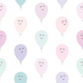 Nettes nahtloses muster mit ballonen.