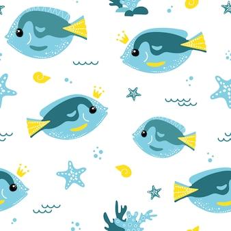 Nettes nahtloses muster mit blauen fischen.