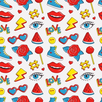Nettes nahtloses muster mit buntem fleck. modehintergrund in den farben weiß, schwarz, rot, blau und gelb. trendige illustration