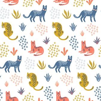 Nettes nahtloses muster mit bunten leoparden.