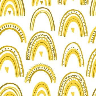 Nettes nahtloses muster mit der bunten vektorillustration der gelben regenbögen lokalisiert auf weiß b