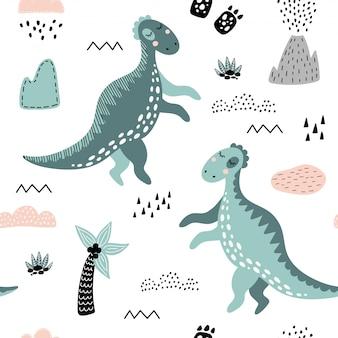 Nettes nahtloses muster mit grünen dinosauriern.