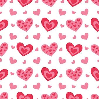 Nettes nahtloses muster mit herzen für valentinstag