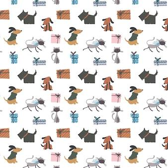 Nettes nahtloses muster mit hunden und katzen