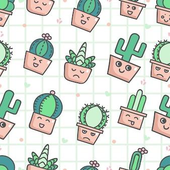 Nettes nahtloses muster mit kaktus
