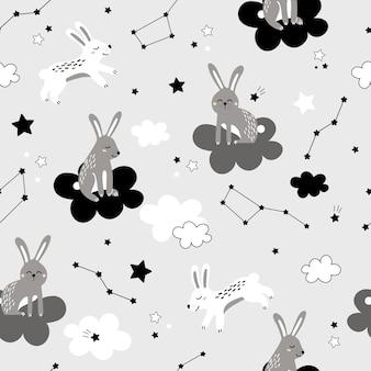 Nettes nahtloses muster mit kaninchen