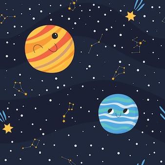 Nettes nahtloses muster mit lächelnden planeten im offenen raum mit sternen