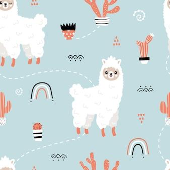 Nettes nahtloses muster mit lamas. nettes lama, regenbogen, kaktus. vektorhintergrund für kinder. postkarte, poster, kleidung, stoff, geschenkpapier, textilien.