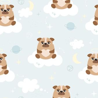 Nettes nahtloses muster mit mops. süße hunde auf den wolken, sternen, herzen. vektorhintergrund für kinder. bedrucken von stoffen, geschenkpapier, tapeten, textilien, poster.