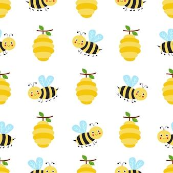 Nettes nahtloses muster mit niedlichen bienen und bienenstöcken