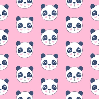 Nettes nahtloses muster mit pandakopf