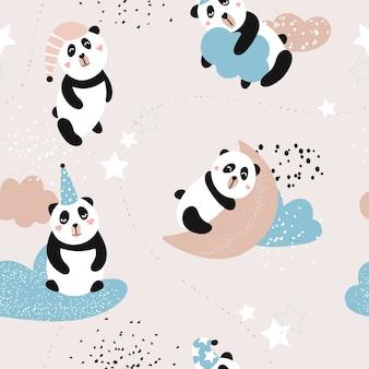 Nettes nahtloses muster mit pandas auf den wolken.
