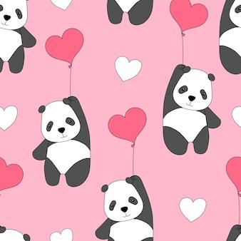 Nettes nahtloses muster mit pandas auf luftballons