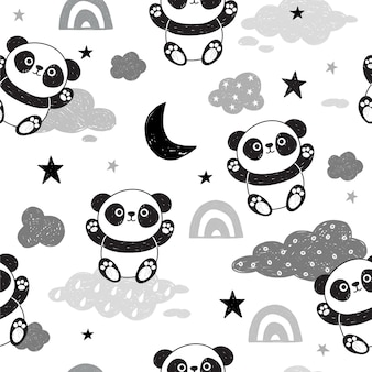 Nettes nahtloses muster mit pandas.