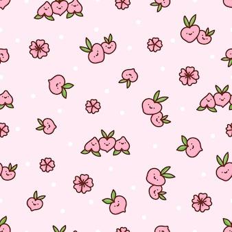 Nettes nahtloses muster mit pfirsichen und blumen mit weißen punkten auf einem rosa hintergrund