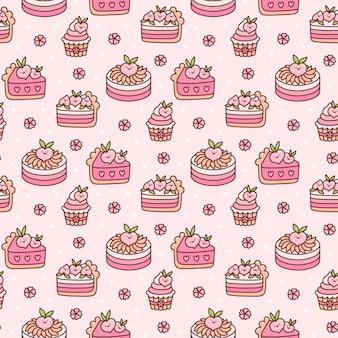 Nettes nahtloses muster mit pfirsichkuchen und blumen mit weißen punkten auf einem rosa hintergrund