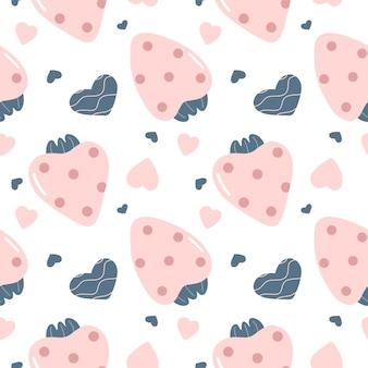 Nettes nahtloses muster mit rosa erdbeeren und herzen im skandinavischen stil vektor-illustration