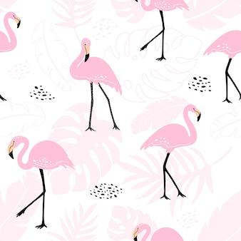 Nettes nahtloses muster mit rosa flamingos und tropischen anlagen.