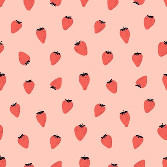 Nettes nahtloses muster mit roten erdbeeren