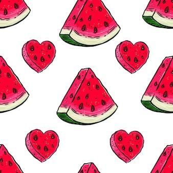 Nettes nahtloses muster mit scheiben reifer wassermelone. handgezeichnete illustration