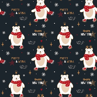 Nettes nahtloses muster mit weihnachtseisbären