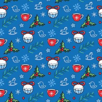 Nettes nahtloses muster mit winterelementen auf blauem hintergrund. lustiger vektor-weihnachtshintergrund