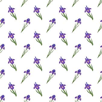 Nettes nahtloses muster von irisblumen. heller frühlings- und sommerdruck mit grünen blättern