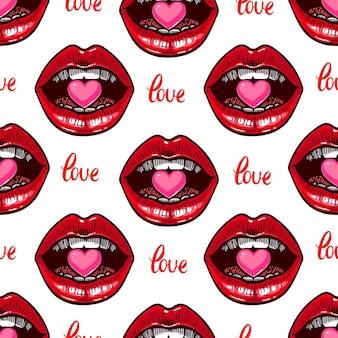 Nettes nahtloses muster von lippen und bonbons in der form eines herzens. handgezeichnete illustration