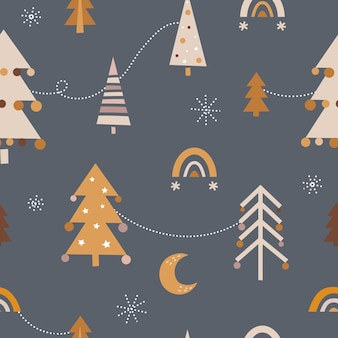 Nettes nahtloses weihnachtsmuster im boho-stil