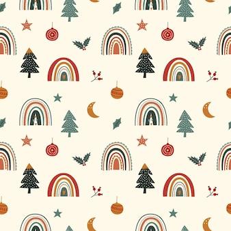 Nettes nahtloses weihnachtsmuster mit regenbogen