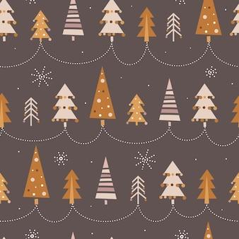 Nettes nahtloses weihnachtsmuster mit weihnachtsbäumen im boho-stil