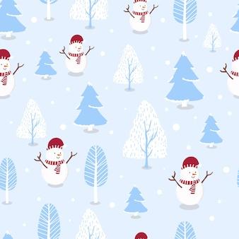 Nettes nahtloses wintermuster mit schneemann, schnee, baum für weihnachtsferien