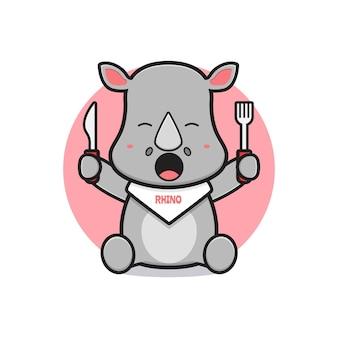 Nettes nashorn bereit, karikaturikonenillustration zu essen. entwerfen sie isolierten flachen cartoon-stil