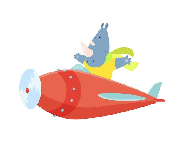 Nettes nashorn, das ein flugzeug mit flatterndem schal fliegt.