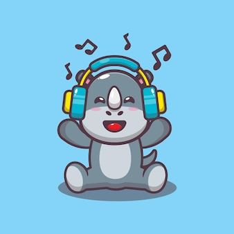Nettes nashorn, das musik mit kopfhörerkarikaturvektorillustration hört