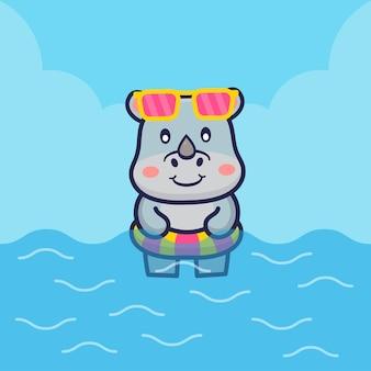 Nettes nashornschwimmen mit schwimmringillustration