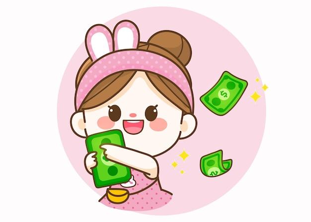 Nettes nettes mädchen, das geldbank hält hand gezeichnete karikaturkunstillustration
