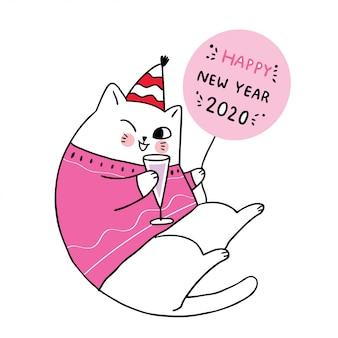 Nettes neues jahr der karikatur, katzenfeier.
