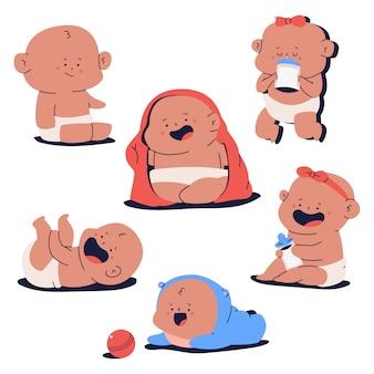 Nettes neugeborenes babycharakter-karikaturenset lokalisiert auf weißem hintergrund.