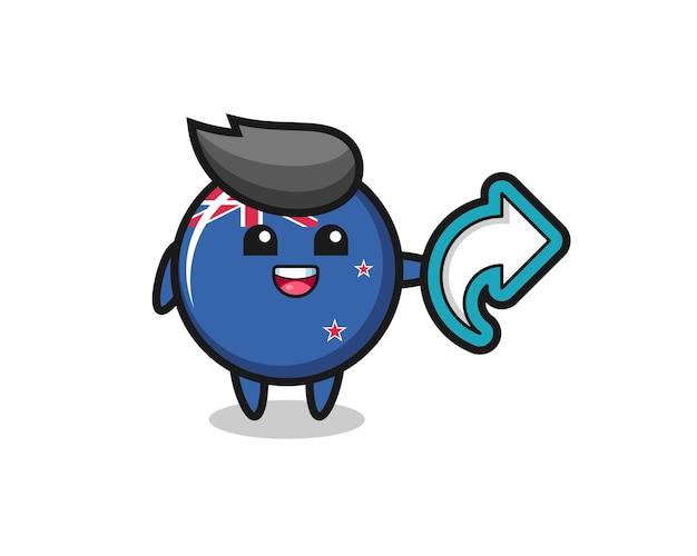 Nettes neuseeländisches flaggenabzeichen halten social-media-share-symbol, niedliches design für t-shirt, aufkleber, logo-element