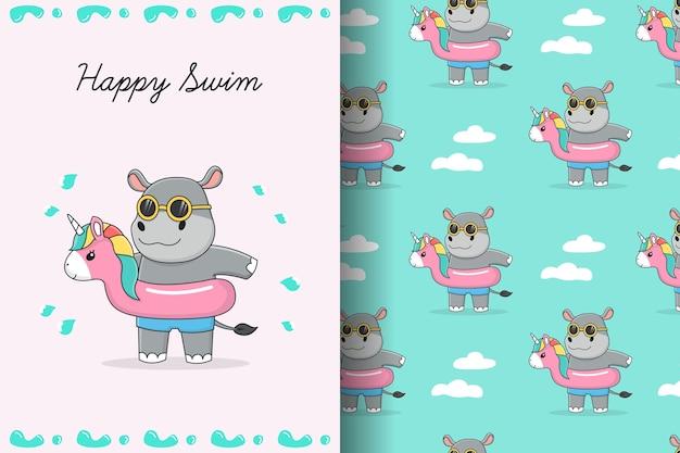 Nettes nilpferd mit nahtlosem muster und karte des rosa einhornschwimmrings