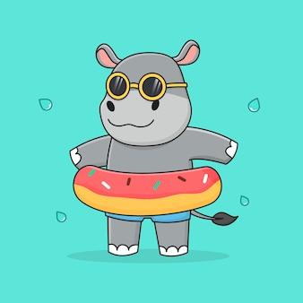 Nettes nilpferd mit schwimmringkrapfen und sonnenbrille