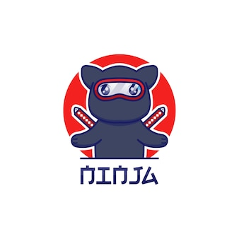 Nettes ninja-katzenlogo