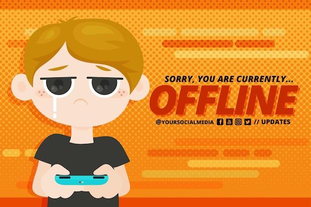 Nettes offline zuckendes banner mit jungen