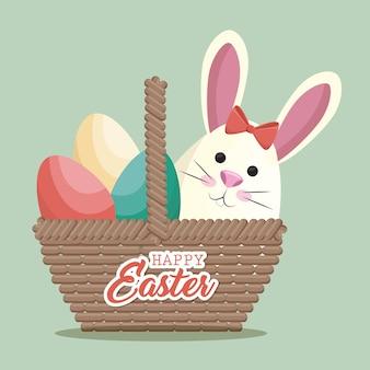 Nettes ostern-vektorillustrationsdesign des netten kaninchens