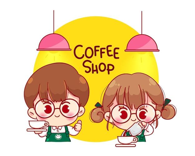 Nettes paar barista in der schürze kaffee, die karikaturcharakterillustration macht