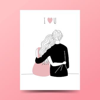Nettes paar, das beim umarmen sitzt. handgezeichneter stil des minimalismus