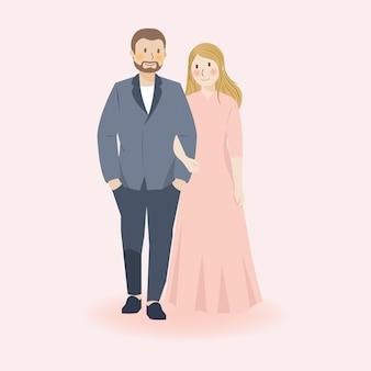 Nettes paar, das hand hält, umarmt, geht und umarmt in lässiger formeller kleidung, romantischer niedlicher paarillustrationscharakter, hochzeitspaar