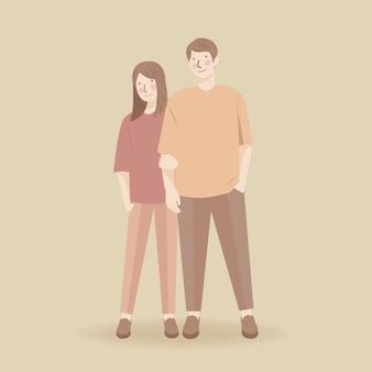 Nettes paar, das hand hält, umarmt, im lässigen outfit umarmend, romantische niedliche paarillustrationscharakter, hochzeitspaar