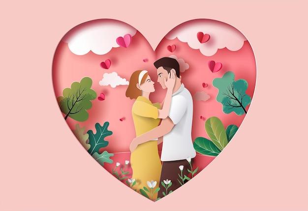 Nettes paar in der liebe, die die augen des anderen in der papierillustration anstarrend umarmt